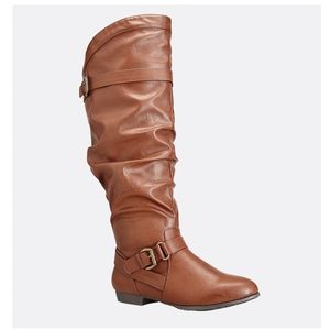 Comfortview Size 12W Wide Calf Cognac Knee Boot